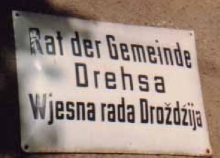 Council Chambers Note 'Drehsa' is the German form, and 'Drozdzija' the Wendish form of the name    KZ