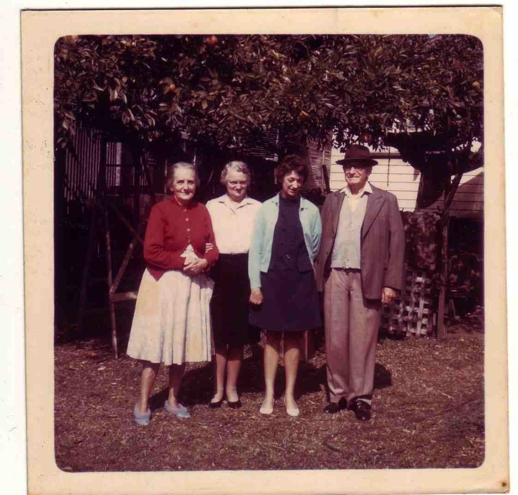 Wife Mary Zwar, two visitors, Garry Zwar   (1969)
