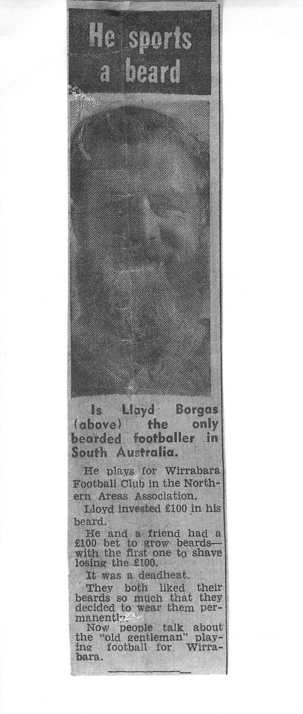 "Lloyd as the first bearded footballer in South Australia.  ""The Chronicle"""